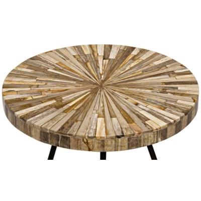 Kata Side Table, Metal and Petrified Wood