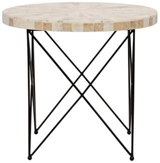 Morcheeba Side Table, Metal and Petrified Wood