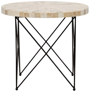 Morcheeba Side Table, Metal and Petrified Wood