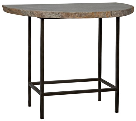 River Stone Demi Lune Console, Iron Base