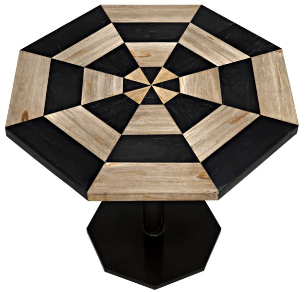 Irina Table, Fossil Inlaid With Metal Base