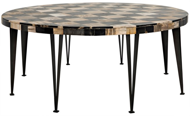 Carim Round Coffee Table, Fossil and Metal