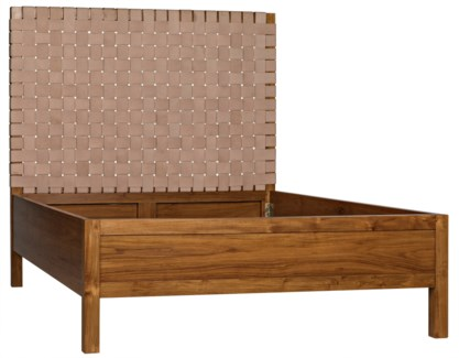Mansard Teak and Leather Bed, Queen