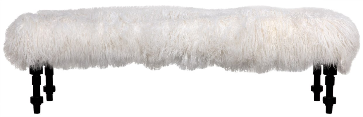 Coco Bench, Lamb Fur, Hand Rubbed Black