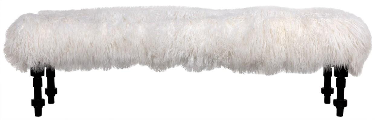 Coco Bench, Lamb Fur, Hand Rubbed Black