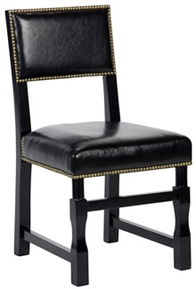Abadon Side Chair w/Leather, Distressed Black