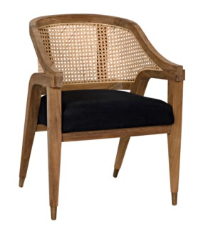 Chloe Chair, Teak, Caning and Black Cotton