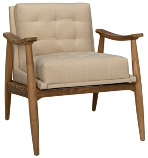 Lazaros Chair, Teak w/Off White Canvas