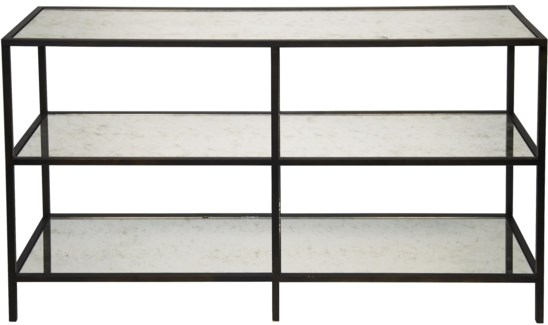 3 Tier Console, Metal and Antiqued Mirror