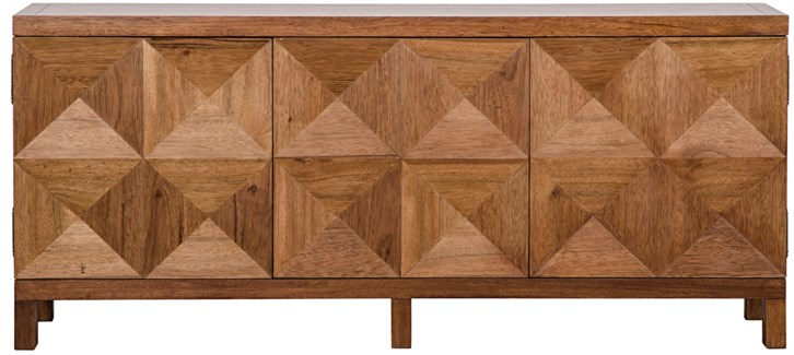 QS 3 Door Quadrant Sideboard, Dark Walnut