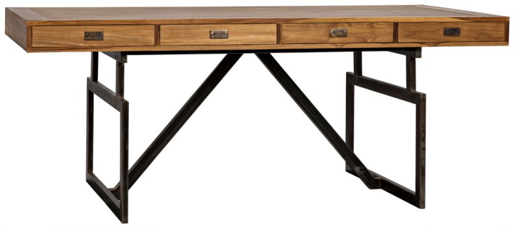 Maxwell Desk Teak w/Metal Base