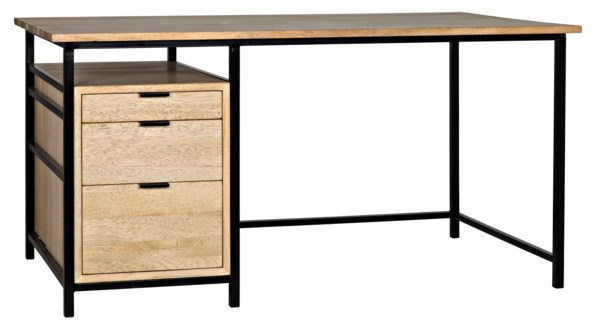 Nabucco Desk, Bleached Walnut w/Metal