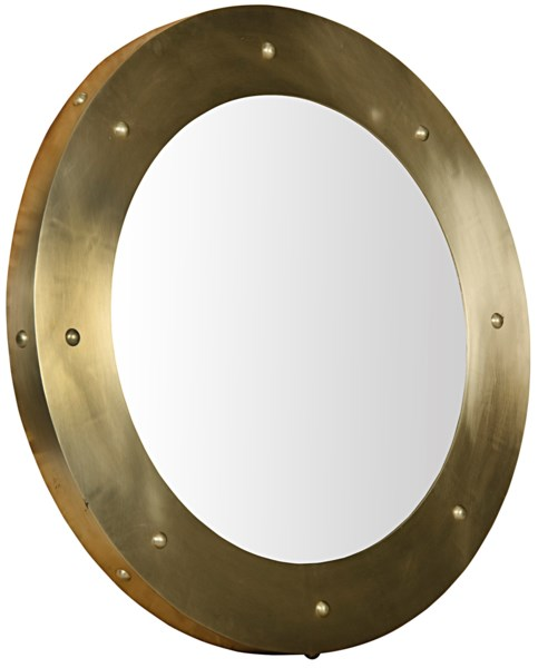 Clay Mirror, Large, Antique Brass