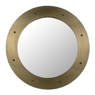 Clay Mirror, Large, Antique Brass