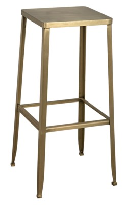 Mauro Bar Stool, Metal w/Brass Finish