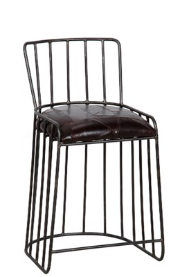 David Counter Stool, Metal and Leather