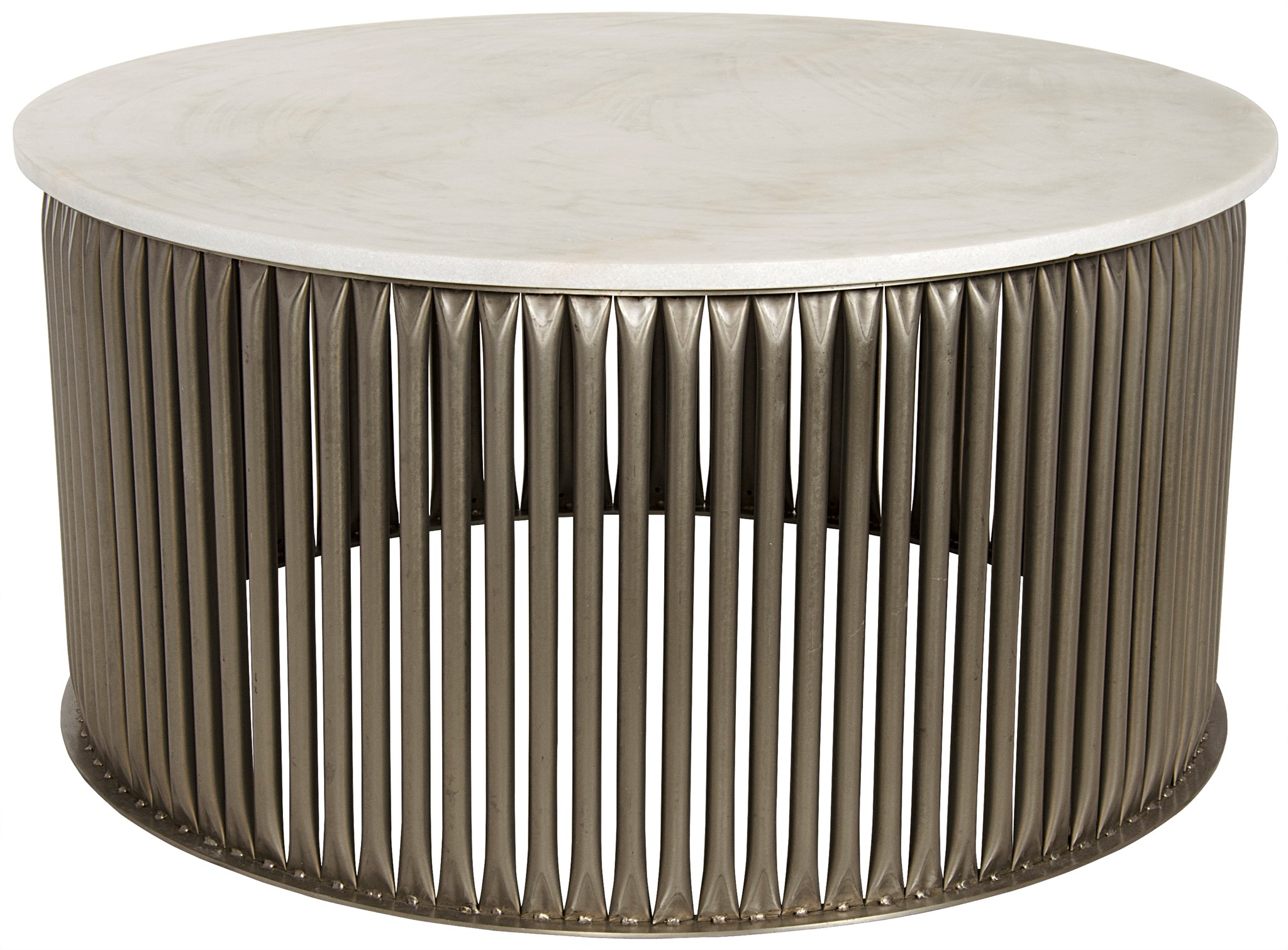 Lenox Coffee Table Antique Silver Metal and Stone cocktail