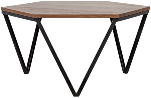 Hexagon Coffee Table, Walnut and Metal