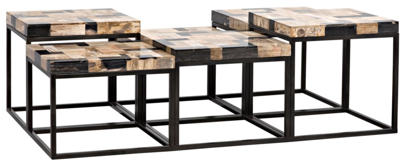 Plato Coffee Table, Metal W/ Fossil