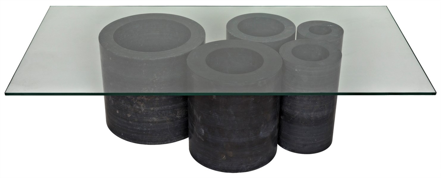 Golyath Coffee Table, Black Stone and Glass