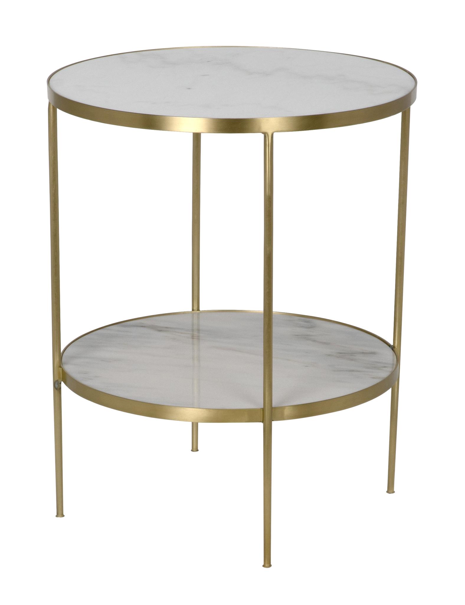 QS Rivoli Side Table Antique Brass Metal and Quartz accent tables