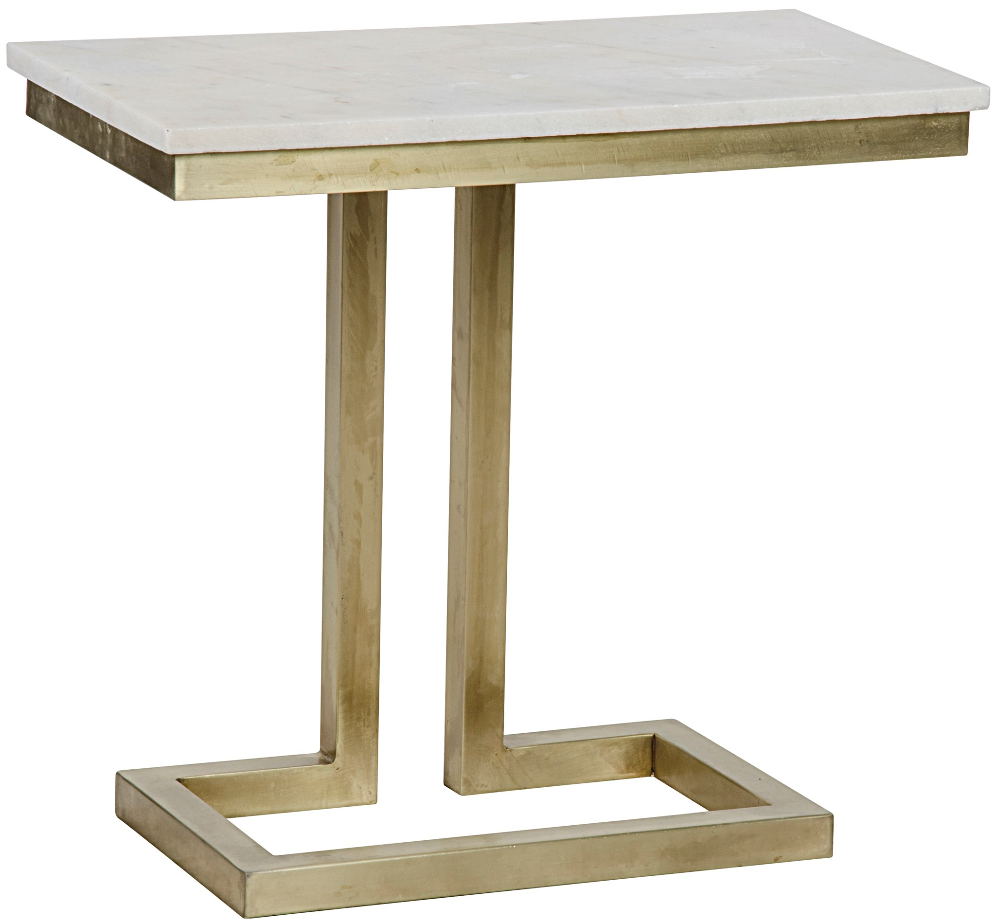 Alonzo Side Table Antique Brass Metal and Quartz accent tables
