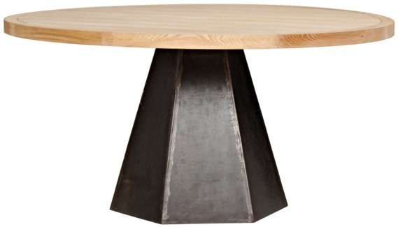 Arezo Dining Table, Metal and Elm