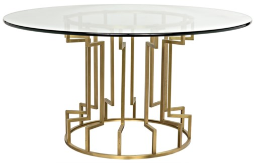 Spool Dining Table, Gold