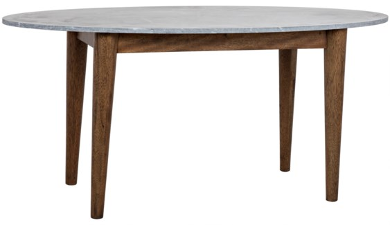 Surf Oval Dining Table, Dark Walnut w/Stone Top