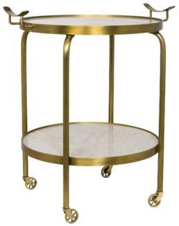 Frances Side Table with Wheels, Gold, Metal and Quartz