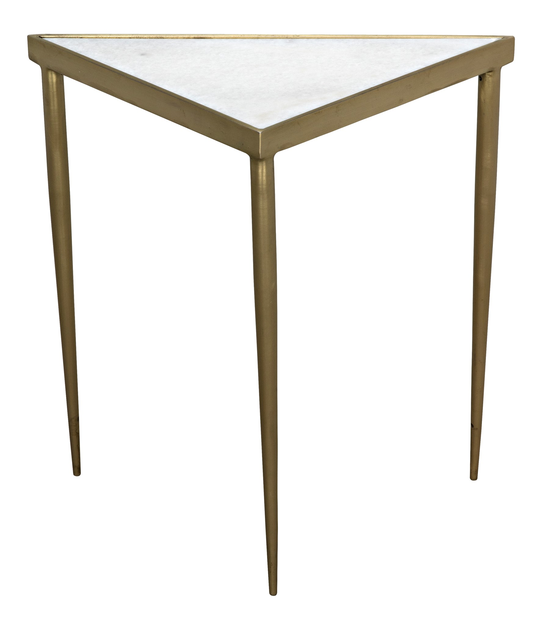 Comet Triangle Side Table, Medium, Stone, Metal W/Brass Finish