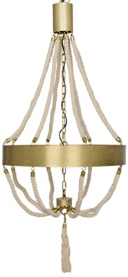 Alec Chandelier, Antique Brass, Metal and Rope
