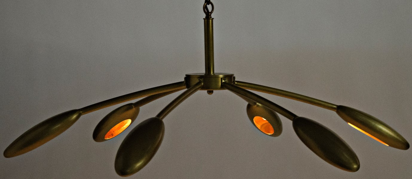 Rufus Chandelier, Small, Antique Brass