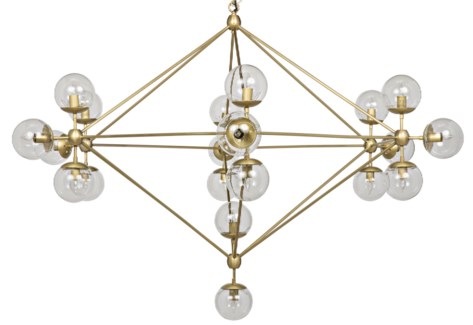 Pluto Chandelier, Large, Antique Brass Finish