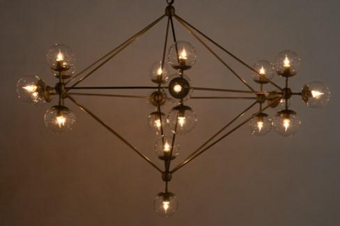 Pluto Chandelier, Large, Antique Brass Finish