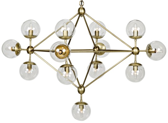 Pluto Chandelier, Small, Antique Brass, Metal and Glass