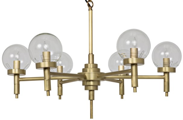 Leslie Chandelier, Small, Antique Brass