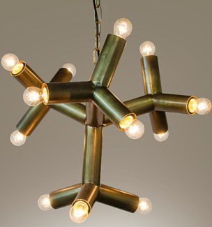 Snow Flake Chandelier, Antique Brass