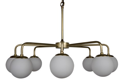 QS Larenta Chandelier, Antique Brass, Metal and Glass