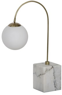 QS Soldity Table Lamp, Antique Brass, Marble and Metal