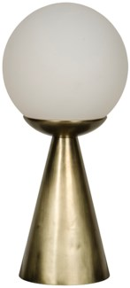 Merle Table Lamp, Antique Brass, Metal and Glass