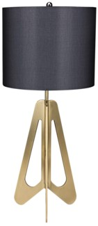 Candis Lamp, White Shade, Antique Brass Finish