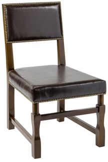 Square Leather Chair, Distressed Brown