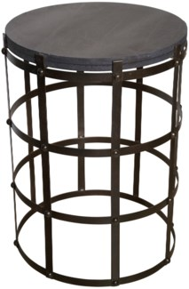 St. Petersburg Side Table, Stone and Metal
