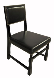 Leather Square Chair, Black