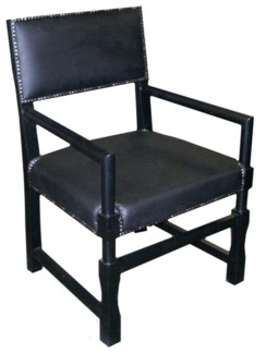 Leather Square Arm Chair, Black