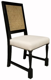 Colonial Caning Chair, Distressed Black