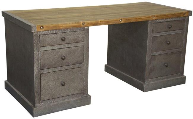 Hammered Zinc Desk, Old Wood