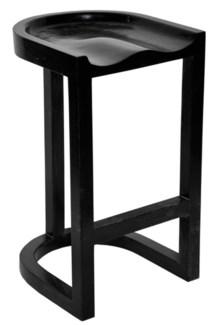 QS Saddle Bar Stool, Hand Rubbed Black