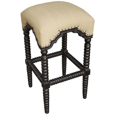 QS Abacus Bar Stool, Hand Rubbed Black